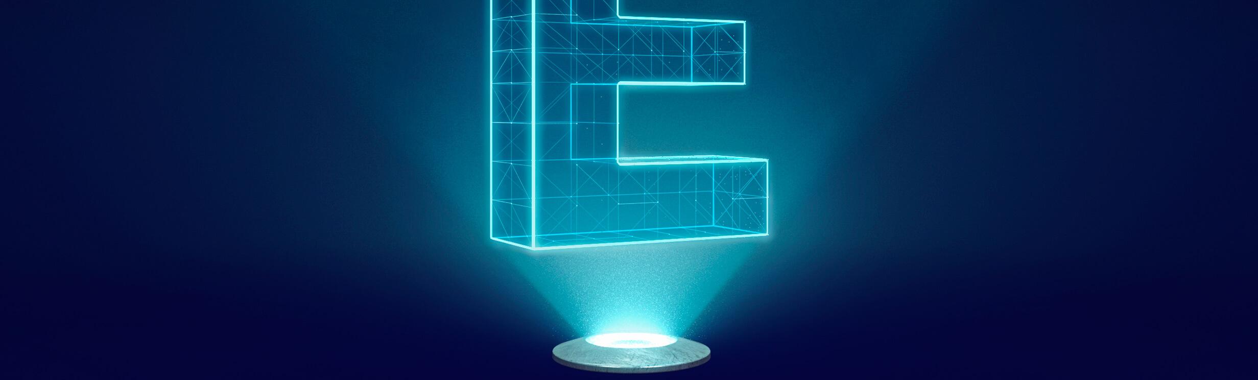 Buchstabe E symbolhaft umgesetzt